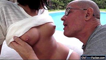 Coco Demal sucking a grandpa in the garden before riding him