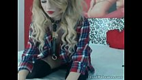 Hot blonde with butt plug tail teasing on cam