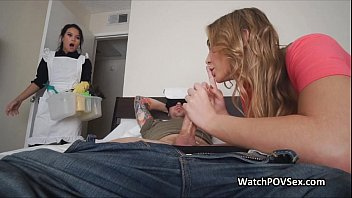 Couple invites maid for a hot fuck