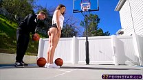 College basketball chick gets fucked in the ass by the head couch