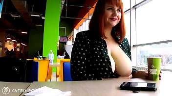 Katrin Porto - Flashing Big Tits and Hairy Pussy In The Mall