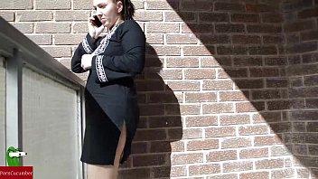 Woman sunbathing on the terrace naked masturbating IV