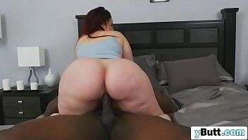 Chubby redhead slut sucking and riding huge black cock