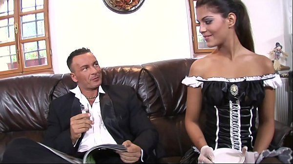 Super horny y. maid showing off her wet cunt to get it fucked hard