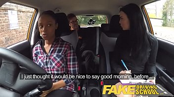 Fake Driving School busty black girl fails test with lesbian examiner