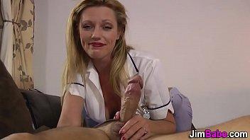 Euro nurse jerks cumshot