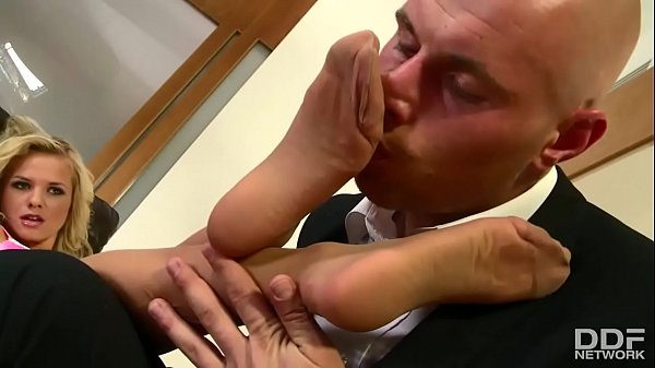Super Sexy Blonde slut in stockings foot fucks like Magic!