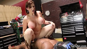 Sara Jay Fucks Her Mechanic in her Garage!