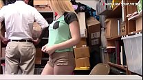 Cute blonde teen thief Joseline Kelly and her boyfriend was detained and pounded hard by pervert LP officer