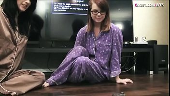 Adorable teen girls pajama party and one of the girls with glasses gets her pussy pounded by her friend wearing strapon dildo 5 min