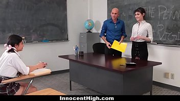 InnocentHigh - Teaching Assistant (Audrey Noir) Fucks Hot Student (Rose Darling) & Professor