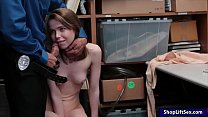 Teen shoplifter Alina West pussy ripped by horny LP officer