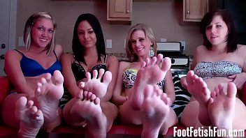 Four girls feet all for you