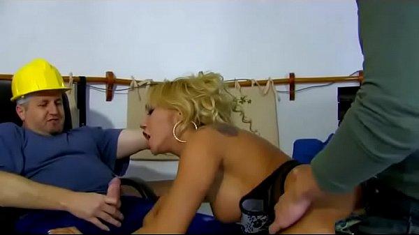 A little slut is slammed by to workmen