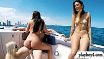 College teen babes pounded on speedboat