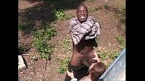 White bitch sucking off a black worker