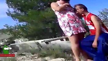 The fat girl breaks her flip flops fucking between debris in the field. SAN143