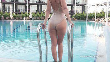 I'm wearing transparent swimsuit in the public pool