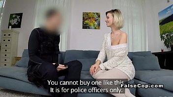 Good looking blonde bangs fake cop home