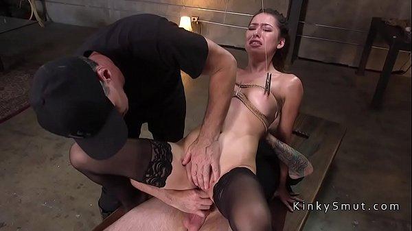 Brunette in bondage deep throated