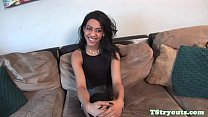 Gorgeous tranny tugging her dick at casting