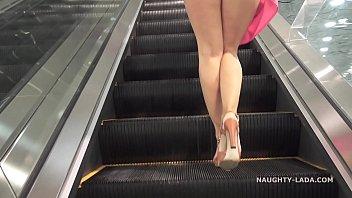 No panties shopping public flashing upskirt