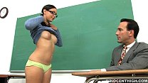 cute teen with glasses sucking and riding her professors cock