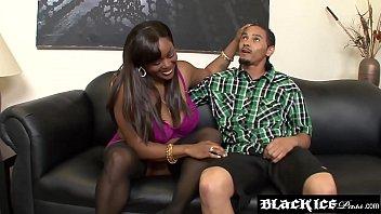 Chubby ebony Kim Eternity gets her big boobies creamed