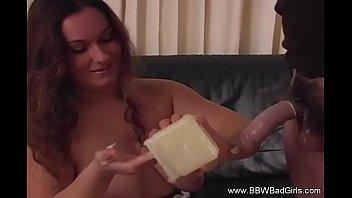 BBW Uses Condom Handjob
