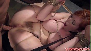 Ginger bondage sub frogtied for pussy fucking