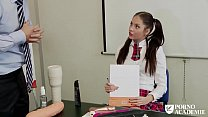 PORNO ACADEMIE - Romanian brunette school girl Rebecca Volpetti ass fucked hard