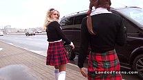 Euro schoolgirls flashing asses in car