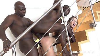 Big booty Vixen Nikki Dikki vs 2 Big Black Bulls Asshole destruction