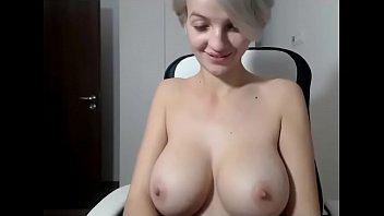 Hot slut with big natural boobs live strip