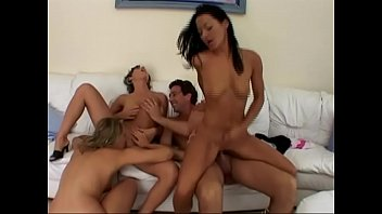 Crazy orgy for a group of young sluts