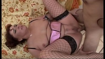 Horny milf in fishnet stockings banged like a bitch