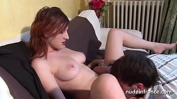 Busty french redhead babe riding a cock