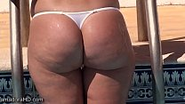 Wicked Weasel thong ass playing in the pool