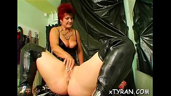 Horny fetish action with man getting dominated by hot playgirl