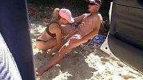 Beach babe sucks and fucks hard cock on the beach #4