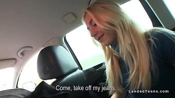 Blonde hitchhiker sucks and fucks huge dick