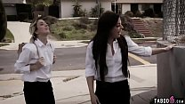 Trespassing schoolgirl teens fuck with a homeless guy