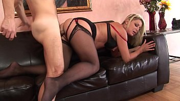 Hunk gets his hard cock swallowed by a blonde then gives her cream pie 23 min
