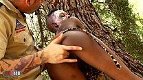 African Sex Safari with skinny ebony babe fucking white guy