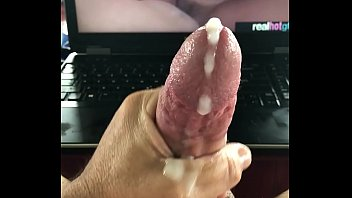 Stroking and cumming to porn