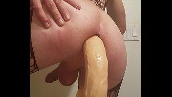 Sissy crossdresser trying massive 14 inch dildo