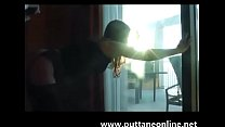 Italian Girl - PAINFUL ANAL fuck at the window