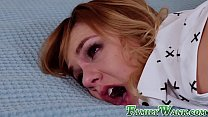 Promiscuous stepsister disciplined by big stepbro cock