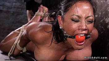 Huge tits slave made to squirt in dungeon