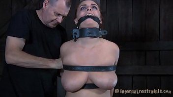 Clamped up angel gets her fuck holes t.